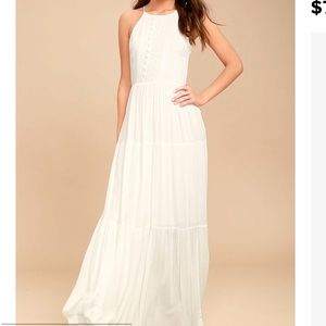 Lulu's FOR LIFE WHITE EMBROIDERED MAXI DRESS